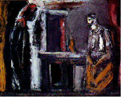 Christ and the Samaritan Woman (1947). Painting by Mario Sironi, Italy. From The Collection of Modern Religious Art.