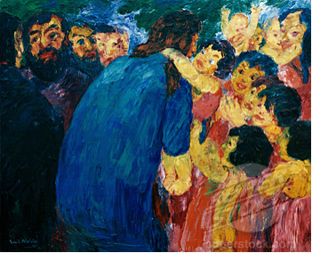 Christ and the Children by Emil Nolde (1867-1956). From the German Museum of Modern Art New York City.
